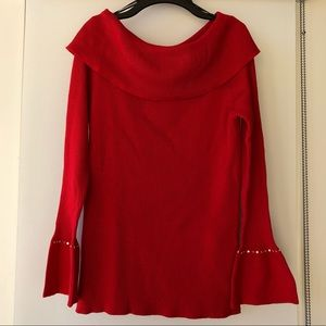 Red knit bell sleeve cowl neck top